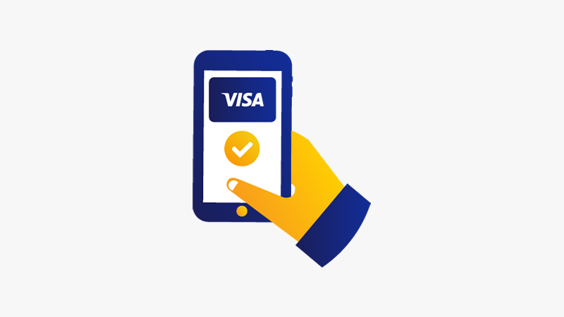 Illustration of a mobile phone with the Visa logo above a white checkmark enclosed in a yellow circle on the screen.